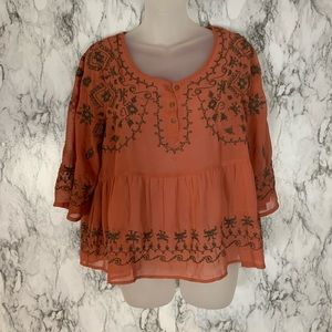 Free People Semi Sheer Embroidered Blouse Top